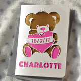 New Baby Teddy Bear Papercut Card