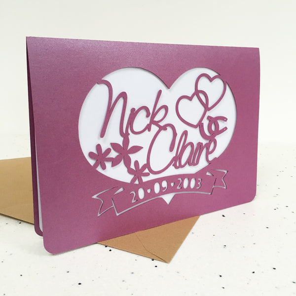 Heart And Scroll Paper Cut Card
