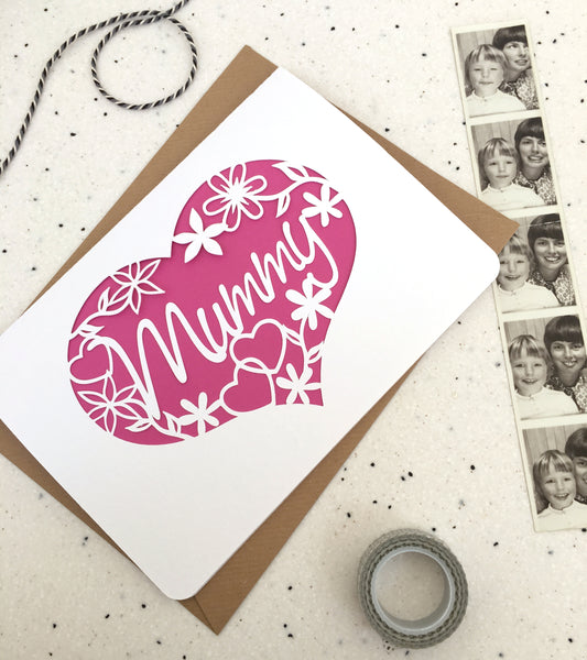 Mum, Heart and Flowers Card