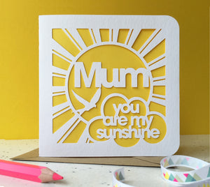 Mum, Dad … You Are My Sunshine Paper Cut Card