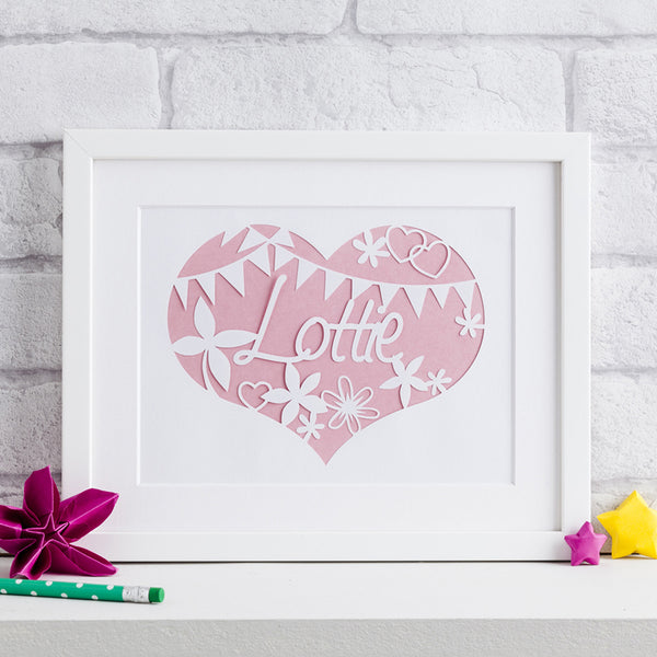 Flowers and Bunting Nursery Paper Cut Art