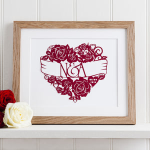 Heart Full Of Roses Paper Cut Art