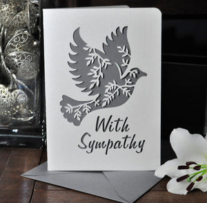 With Sympathy Dove Papercut Card