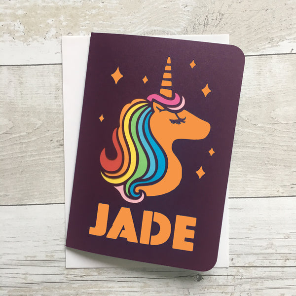 Rainbow Unicorn Paper Cut Card