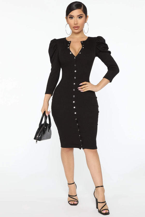 Black High Ratings Ribbed Midi Dress - Sixteen Bars
