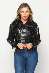 Here She Goes  Crocodile PU Detail  Biker Jacket - Black