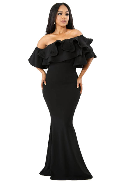 Capture The Night  Black Ruffle Gown - Sixteen Bars