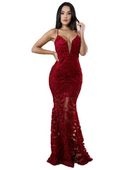 Slow Dance Lace Dress - Burgundy - Sixteen Bars
