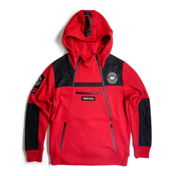 Copper Rivet - Red Utility Anorak Fleece hoodie - Sixteen Bars