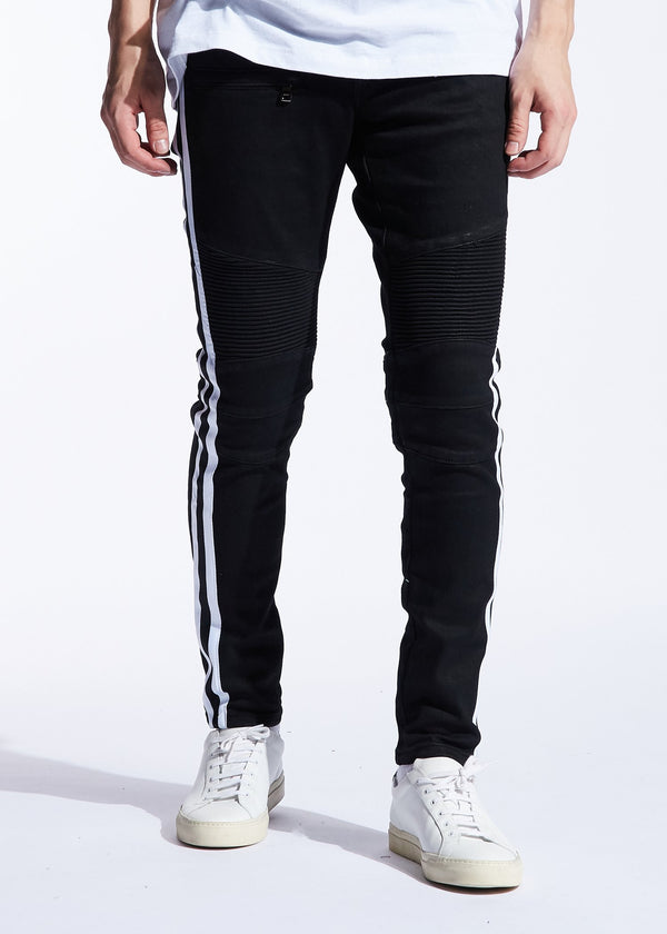 Embellish - Vincent Stripe Biker Denim - Sixteen Bars