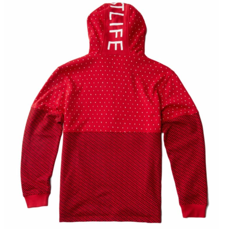 RS1NE - Red  BOOST Allover Print Anorak Pull Over Hoodie - Sixteen Bars