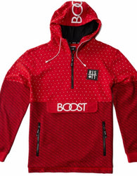 RS1NE - Red  BOOST Allover Print Anorak Pull Over Hoodie