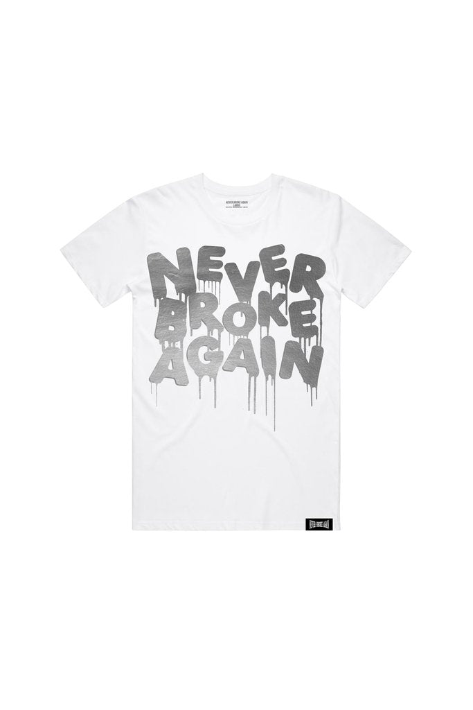 Never Broke Again - White Drip Silver Foil T-Shirt