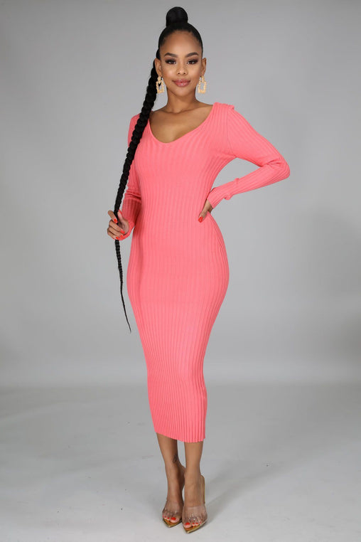 Take Me Anywhere Knit Dress - Pretty Pink