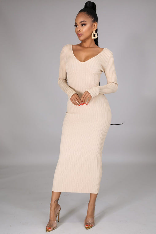 Take Me Anywhere Knit Dress - Tan