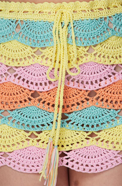 Multi Color Crochet Bikini Top Skirt Set - Sixteen Bars