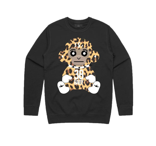 Never Broke Again - Black Cheetah 38 Baby Crewneck - Sixteen Bars