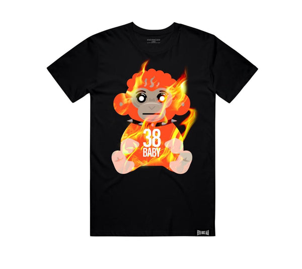 Never Broke Again - Black Flaming 38 Baby T-Shirt - Sixteen Bars
