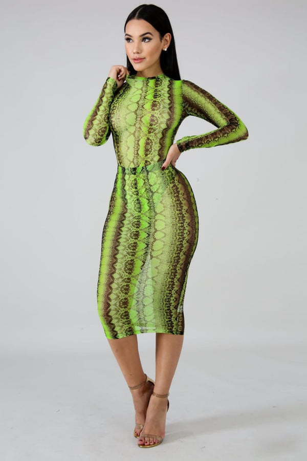 Mesh Snake Print Bodysuit Skirt Set - Sixteen Bars