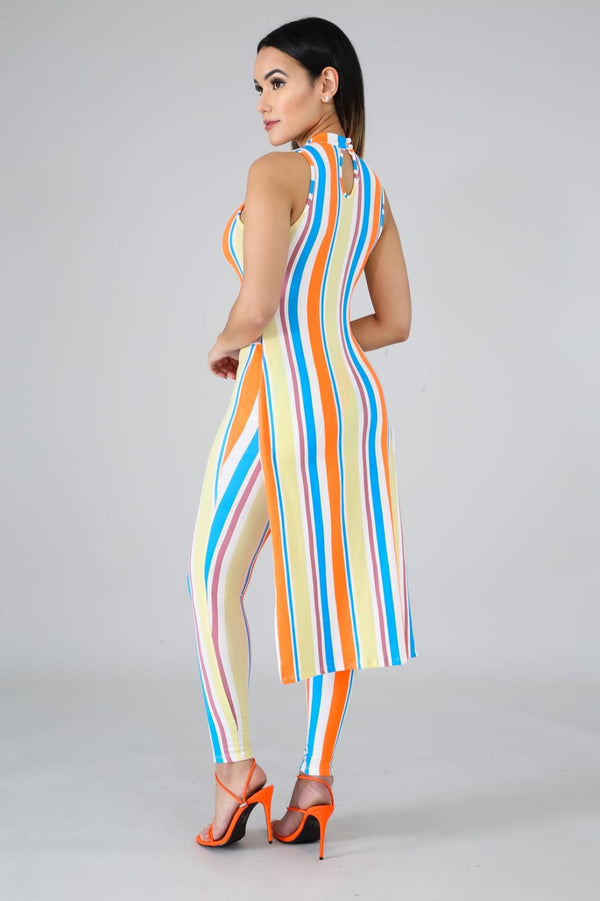 Striped pants set with Tail - Sixteen Bars