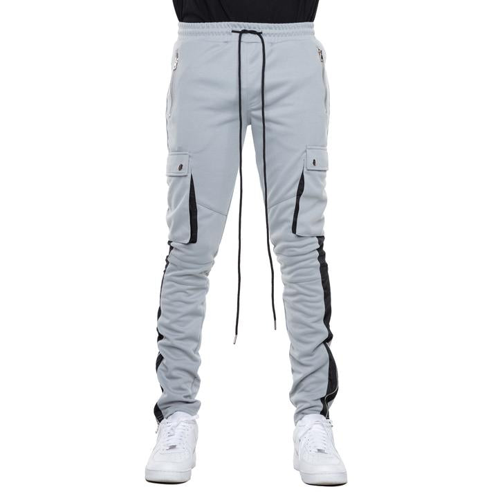 EPTM - Grey w White Stripe Cargo Track Pants