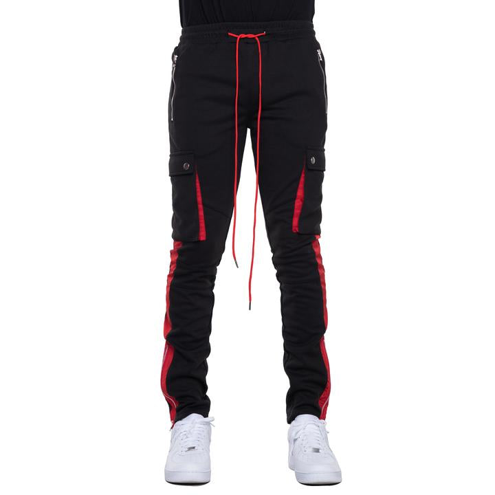 EPTM - Black w Red Stripe Cargo Track Pants