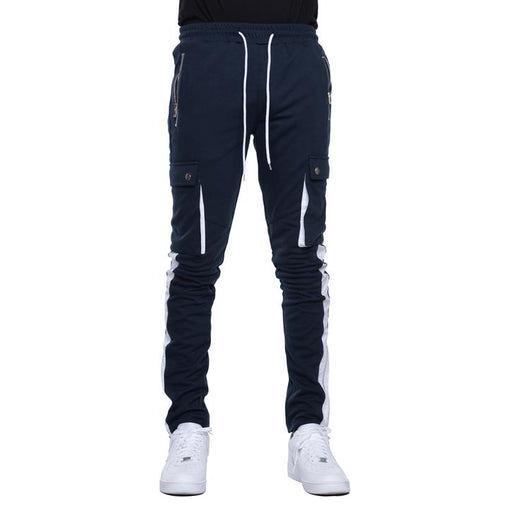 EPTM - Navy w/White Stripe Cargo Track Pants