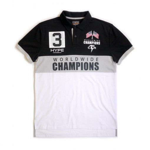 Copper Rivet - Black/White Champion Polo - Sixteen Bars