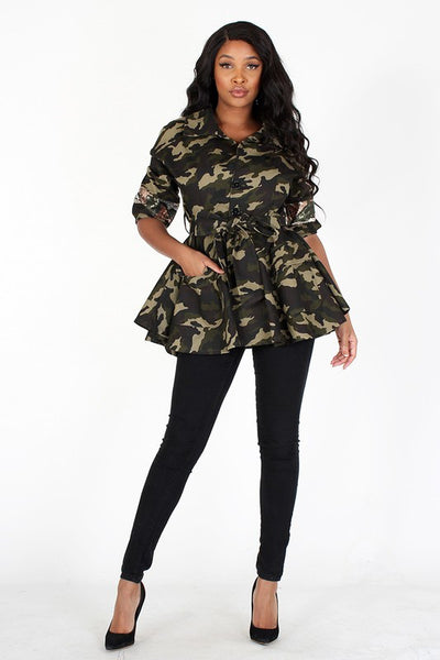 Camo City Peplum Sequence Jacket