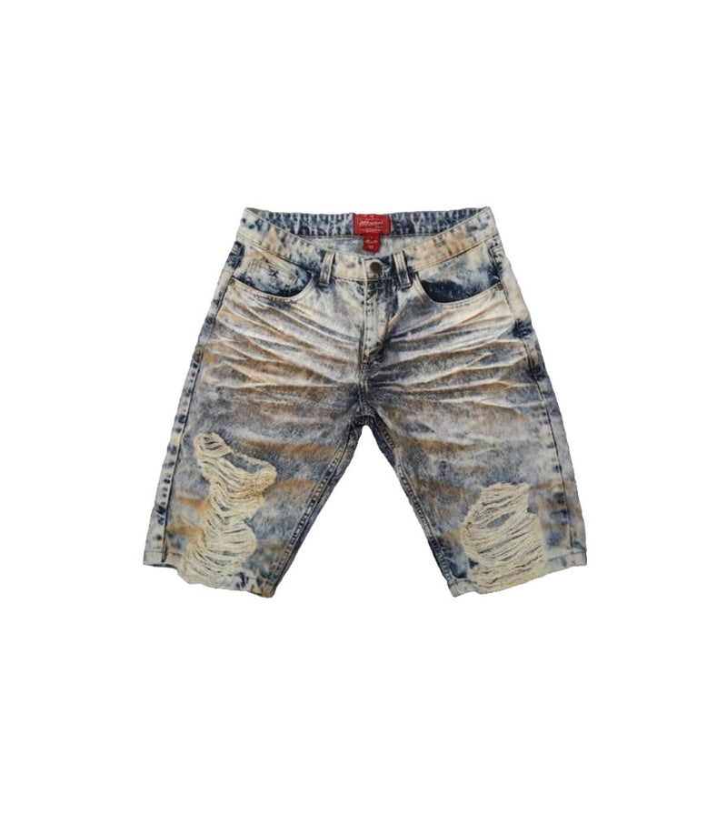 Khaki Tint Heavy Washed Ripped Denim Shorts - Sixteen Bars