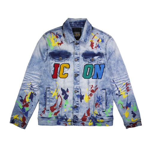 Copper Rivet - Lt. Blue ICON Paint Splatter Denim Jacket - Sixteen Bars