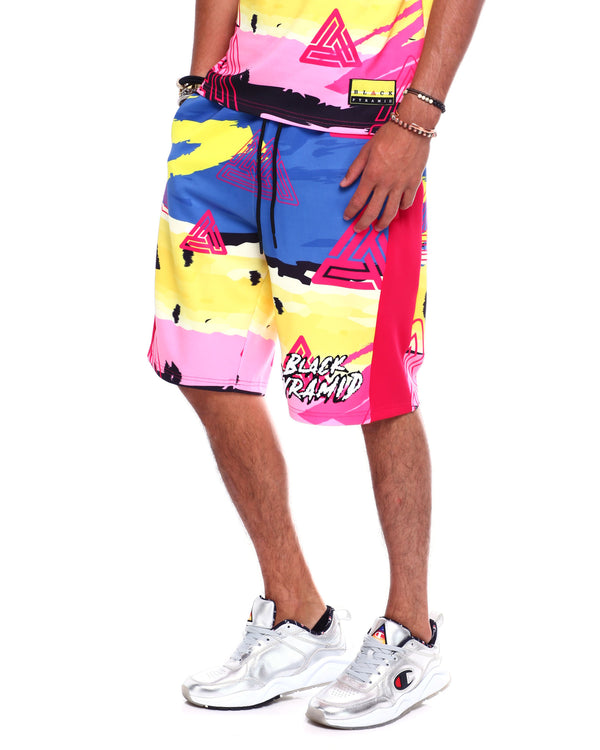 Black Pyramid _ Abstract Rocker Shorts - Sixteen Bars