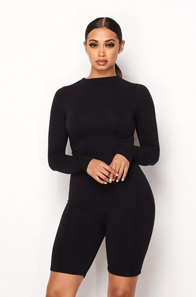 No Limit Long Sleeve Romper - Black