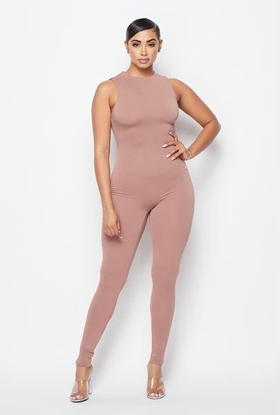 Just Right Sleeveless Jumpsuit - Mocha