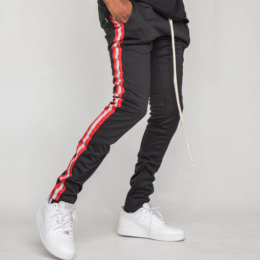EPTM - Black/Red Reflective Stripe Track Pants - Sixteen Bars
