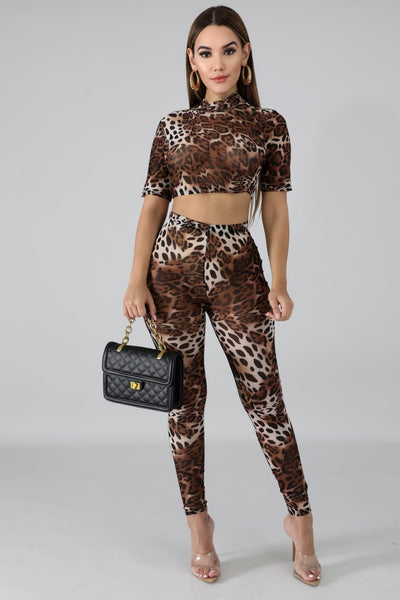Wild Instincts Leopard Crop Top Set - Sixteen Bars