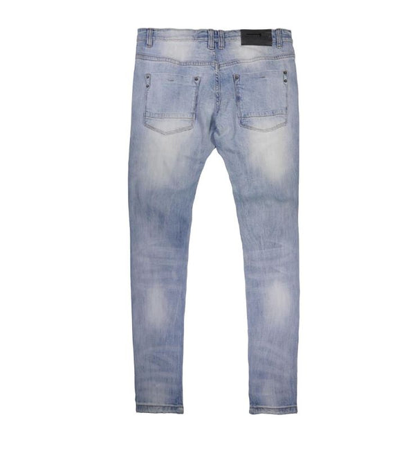 Copper Rivet -  Light Blue Stripe Distressed Denim - Sixteen Bars