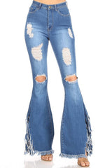 High Waist Extreme Stretch Ripped w Fringe Hem