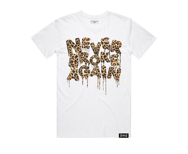 Never Broke Again - White Drip Cheetah T-Shirt - Sixteen Bars