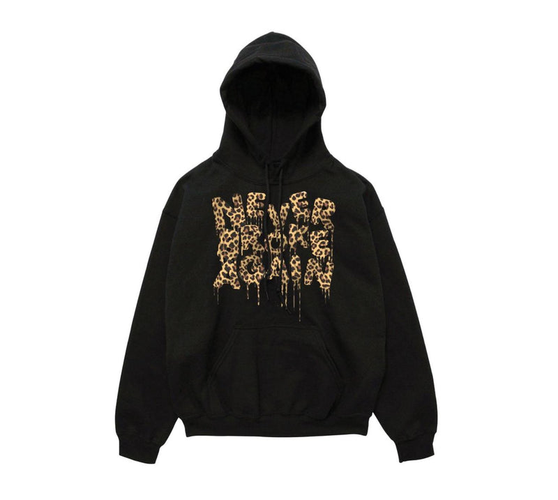 Never Broke Again - Black Drip Cheetah Hoody - Sixteen Bars