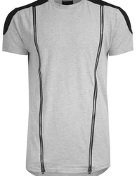 RS1NE - Grey Elongated Long Quilted Moto Zipper T-Shirt