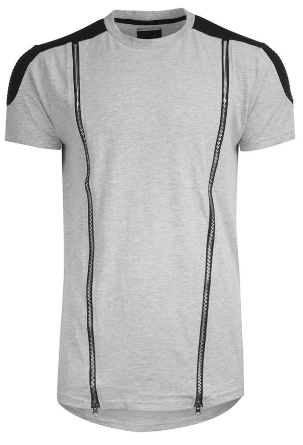 RS1NE - Grey Elongated Long Quilted Moto Zipper T-Shirt - Sixteen Bars