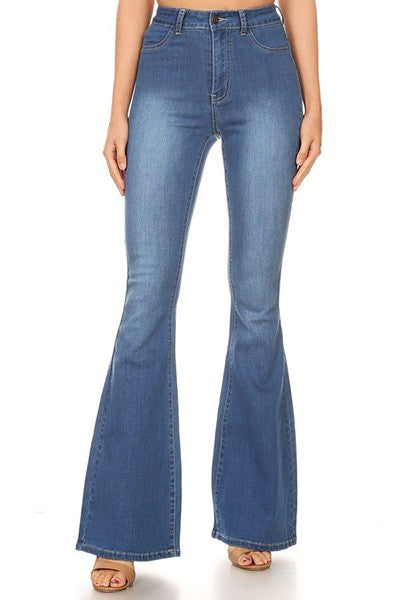 High Waist Stretch Denim - Medium Blue