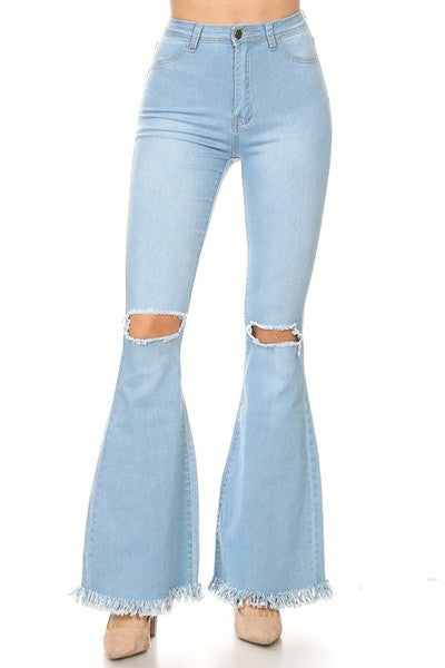 Frayed High Waist Flare Stretch Denim - Light Blue
