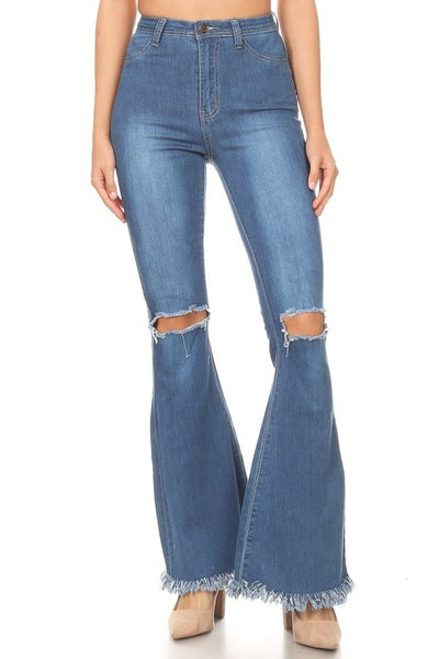 Frayed High Waist Flare Stretch Denim - Medium Blue