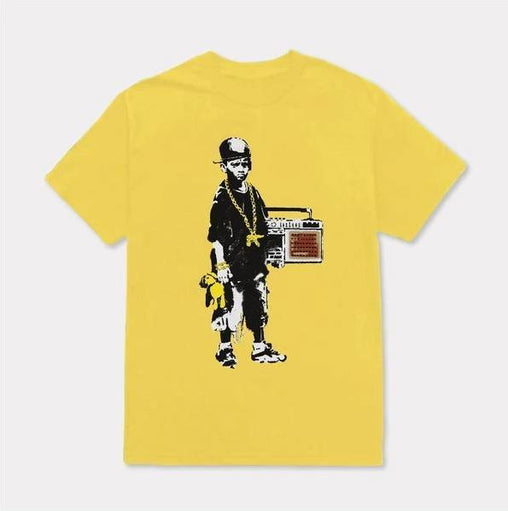 Tango Hotel - Brandalised Banksy's Graffiti Boy with Teddy Tee - Yellow
