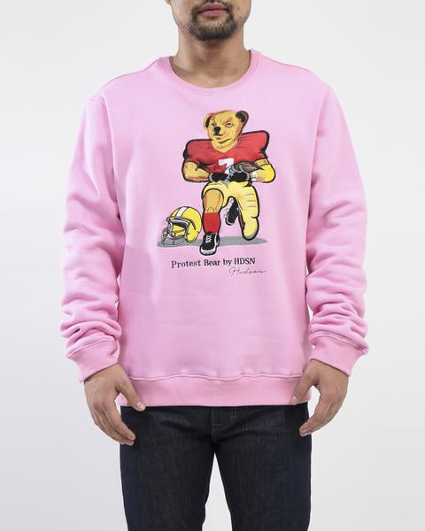 Hudson - Pink Football Protest Bear Sweatshirt - Sixteen Bars