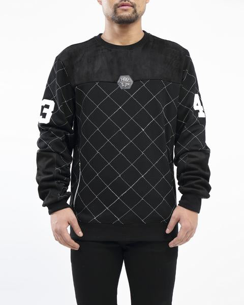 Hudson - Black Quilted Moto Crewneck - Sixteen Bars