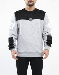Hudson - Grey Quilted Moto Crewneck