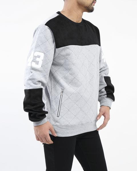 Hudson - Grey Quilted Moto Crewneck - Sixteen Bars